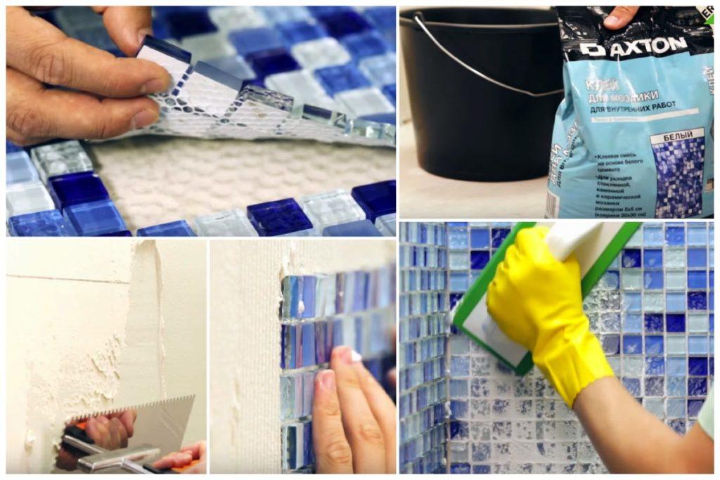 Процесс наклейки мозаичной плитки