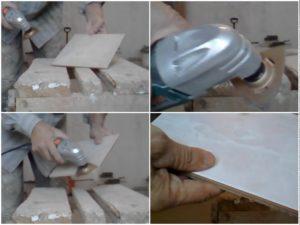 Процесс снятия цемента с плитки