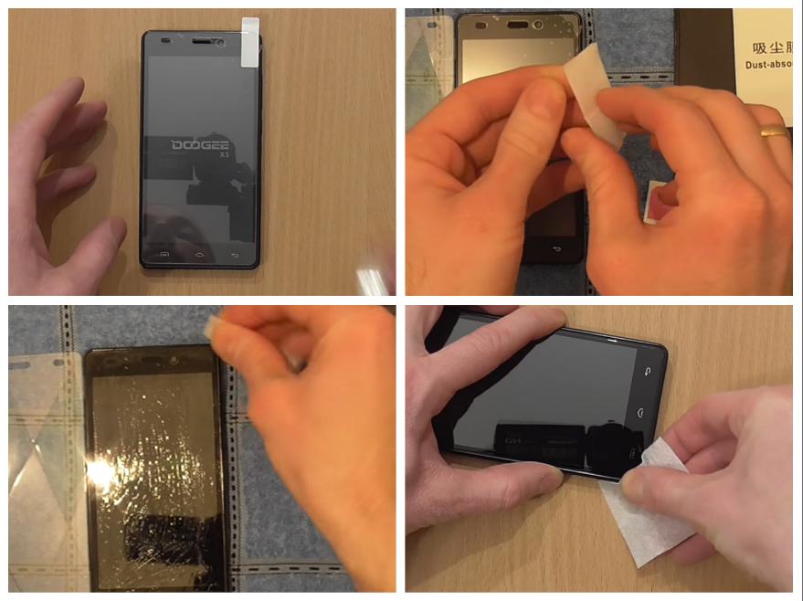 Процесс наклейки стекла на телефон